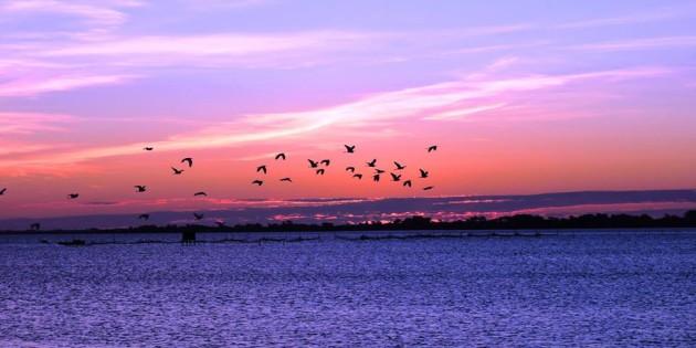 Entardecer na lagoa, o sol já se pôs, mas deixou o céu ainda mais lindo