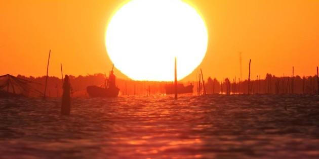 Por do Sol na Lagoa em Rio Grande