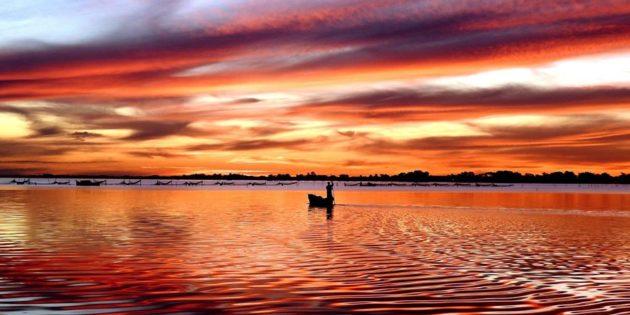 Pescador Lagoa dos Patos Final de Tarde